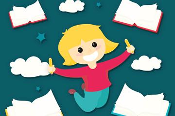 可爱女孩和书本矢量素材