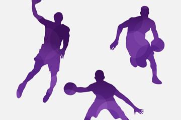 3款水彩绘篮球男子剪影矢量素材