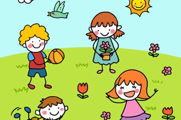 彩绘草地上玩耍的4个儿童矢量图