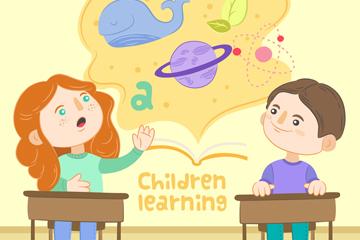 创意课堂上学习的孩子矢量图