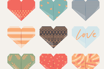 9款创意折纸爱心矢量素材