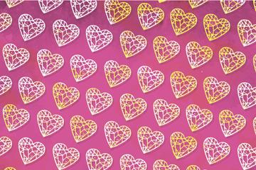 创意钻石爱心无缝背景矢量图
