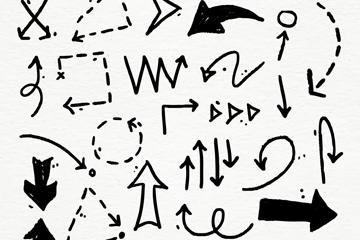 24款黑色手绘箭头矢量素材