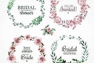 4款水彩绘新娘送礼会花环矢量素