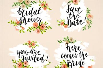 4款彩色玫瑰新娘送礼会标签矢量图