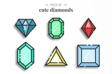 9款可爱彩色宝石矢量素材