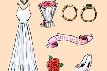 8款彩绘新娘送礼会元素矢量图