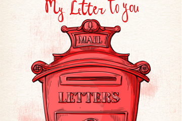 彩绘红色邮筒设计矢量素材