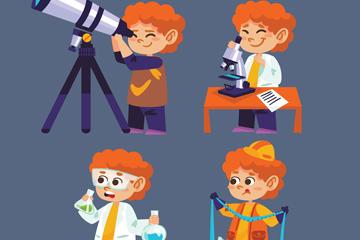 4款可爱橙色头发男孩矢量素材