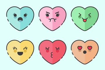 6款可爱表情爱心矢量素材