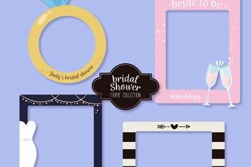 4款��意新娘送�Y��照片框矢量素材
