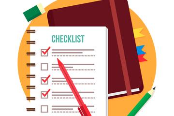 创意清单记事本和笔矢量素材