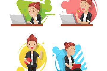 4款创意商务女子矢量素材