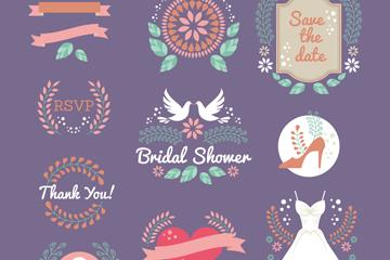 10款创意新娘送礼会标签矢量图