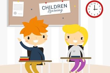 创意课堂上学习的学生矢量素材