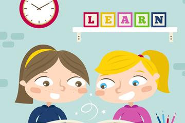 创意学习的2个女孩矢量图