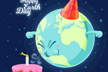 卡通世界地球日吹蜡烛的地球矢量图