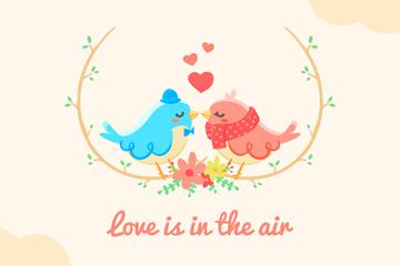 可爱情侣鸟设计矢量素材