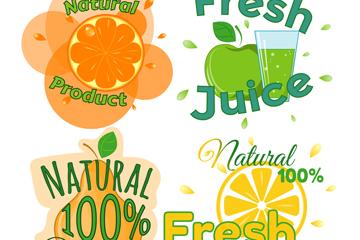 4款彩色新鲜果汁标签矢量素材