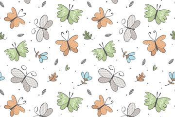 清新花纹蝴蝶和花卉无缝背景矢量图