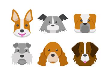 9款卡通宠物狗头像矢量素材