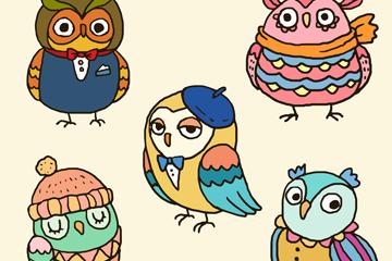 5款彩色猫头鹰设计矢量素材