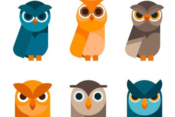 6款卡通大眼睛猫头鹰矢量图