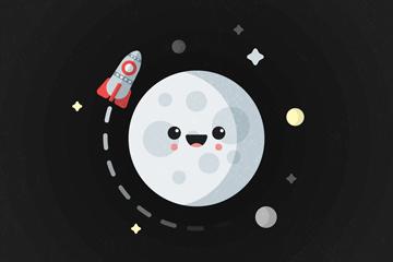 可爱月球和火箭矢量素材