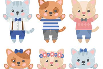 6款可爱卡通猫咪矢量素材