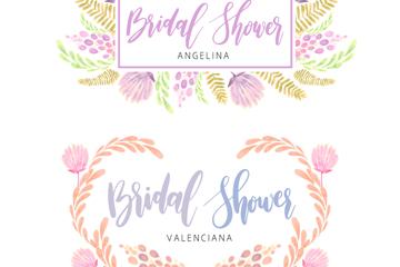 2款水彩绘新娘送礼会花卉标签矢量图