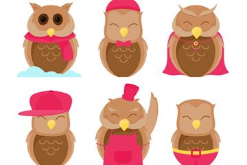 6款可爱笑脸猫头鹰矢量素材