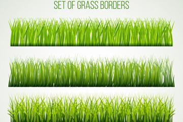 4款绿色茂盛草丛设计矢量素材