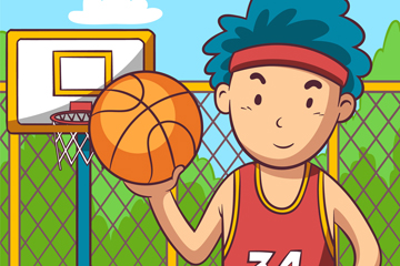创意篮球场上的男子矢量素材