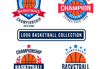 4款彩色扁平化篮球标志矢量素材