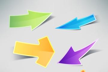 6款彩色箭头贴纸矢量素材