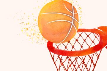 彩绘进球网的篮球矢量素材