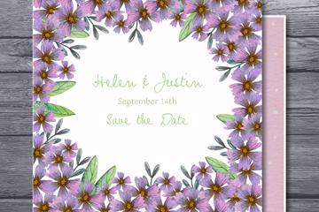紫色花卉婚�Y邀�卡矢量素材