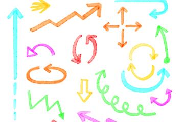 18款彩色荧光笔绘箭头矢量素材