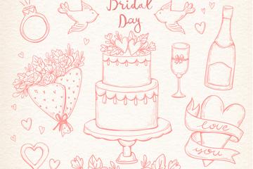 11款手绘婚礼元素矢量素材