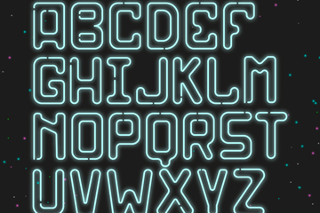 26个创意霓虹灯字母矢量素材