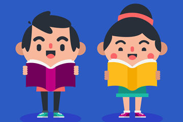 2个卡通读书的儿童矢量素材