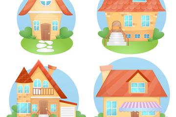 4款卡通房屋设计矢量素材