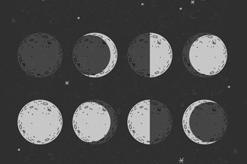 手绘月相设计矢量素材