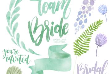 12款水彩绘婚礼元素和艺术字矢量图