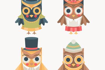 4款创意猫头鹰设计矢量素材