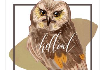 水彩绘猫头鹰设计矢量素材