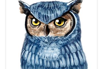 水彩绘蓝色猫头鹰矢量素材