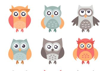 9款彩色可爱猫头鹰矢量素材