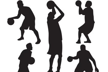 5款创意篮球男子剪影矢量素材