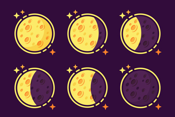 创意彩绘月相变化矢量素材